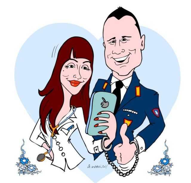 Caricature per partecipazioni Sposi